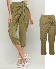 Pantaloni di stoffa annodati