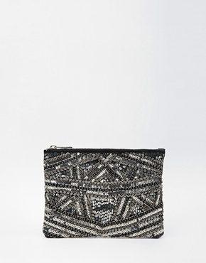 ASOS - Pochette decorata a pannelli con zip sulla parte superiore