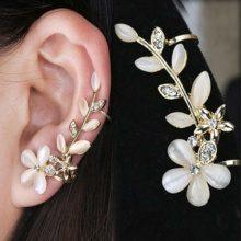 Set di 2 ear-cuff con fiore di opale