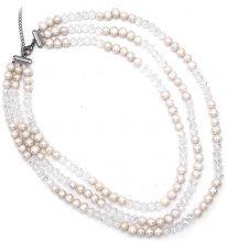 Collana tripla con perle & pietre