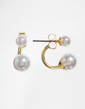 ASOS - Orecchini curvi con perle sintetiche