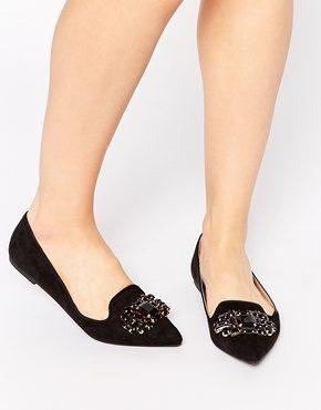 Head Over Heels By Dune - Loulu - Scarpe piatte a punta nere decorate