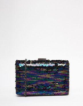 Glamorous - Pochette nera iridescente con paillettes