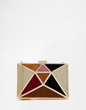Glamorous - Pochette con motivo patchwork color cuoio