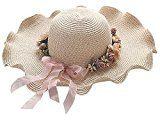 Butterme Womens Garland Cappello di paglia di Sun Fiore, signore grande bordo largo del cappello di Sun della visiera, ragazze ondulate stile della spiaggia di estate Floppy Cappello per il sole Cap