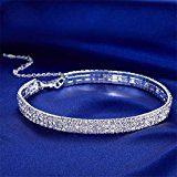 3 di gioielli da sposa Row Rhinestone libero Collana Girocollo Collana per le donne
