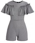 Lost Ink GINGHAM FRILL SLEEVE  Tuta jumpsuit black/white