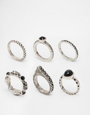 ASOS - Badlands - Confezione da 6 anelli assortiti