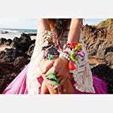 Braccialetto eManco, da donna, realizzato a mano, con nappa e ciondolo, con perle boeme, allungabile, disponibile in 14 design.