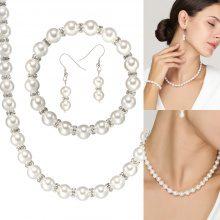 Parure di 3 gioielli con perle sintetiche