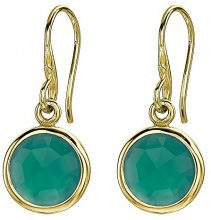 Dower & Hall Donna  925  Argento Ronde   verde Onice FINEEARRING
