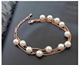 Collana con perle bianche di cristallo Swarovski, catenina in Placcato oro rosa 18 k