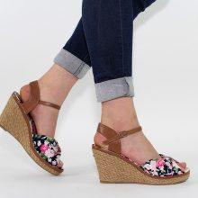 Sandali con zeppa a fiori