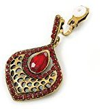 Vintage Rubino Rosso Cristallo Goccia clip su orecchini in oro anticato–40mm l