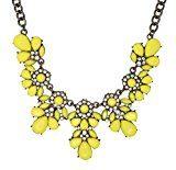 In resina, colore: giallo limone-Collana a girocollo con cristalli