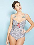 Fiorella Rubino: costume intero donna a quadretti, spalline regolabili e ferretto. Stile pin up. (Italian plus size)