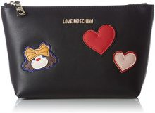Love Moschino Bustina Calf Pu Nero - Borsette da polso Donna, Schwarz (Black), 15x25x6 cm (L x H D)