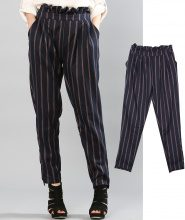 Pantaloni gessati in tessuto