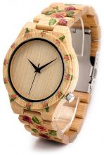 Orologio da polso in legno con motivo a rose