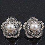 Con perle di cristallo-Orecchini a lobo a forma di fiore placcato al rodio, diametro: 2 cm