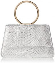 SwankySwans SwankySwansPiper Snakeskin Pu Leather Clutch Bags Silver - Sacchetto donna, argento (Silver (Silver)), Taglia unica