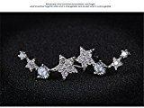 Blingery Elements argento 925zirconi orecchini a perno a forma di stella 8* 17mm Bianco