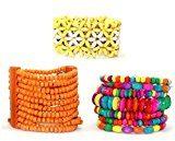Confezione da 3, motivo: fila di perline in legno, braccialetti e anelli
