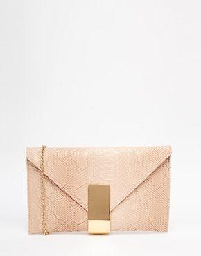 Chi Chi - Pochette a busta rosata con chiusura color oro