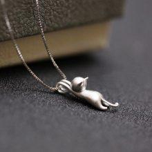 Collana in argento 925 con ciondolo a gatto