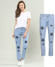 Jeans a 7/8 con stelle stampate