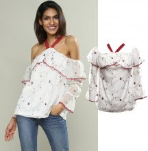 Blusa off-shoulder a fiori