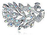 Aurora boreale Cristallo Strass argento tono pavone uccello Bracciale