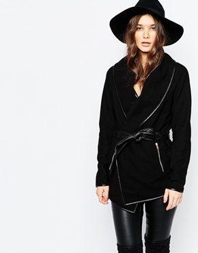 Pimkie - Cappotto a portafoglio con cintura in pelle sintetica
