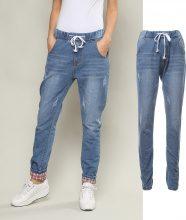 Jogger jeans con risvolto a quadri