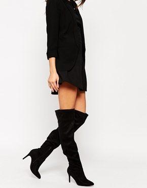 New Look - Stivali elasticizzati neri sopra il ginocchio con tacco