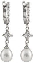 Bella Perla perle d'acqua dolce e Zirconia cubica, e orecchini pendenti, in argento Sterling