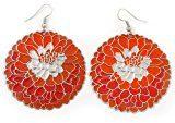 Colore: Arancione, rosso mattone, martellato 'Rose'-Orecchini pendenti, In argento, lunghezza: 60 mm