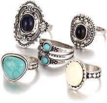 Set di 5 anelli in stile boho