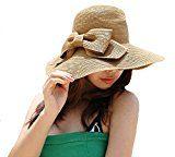 LA HAUTE - Cappello da donna in paglia parasole da spiaggia, con tesa larga pieghevole e fiocco