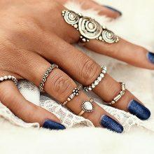 Set di 7 anelli con anello pieghevole