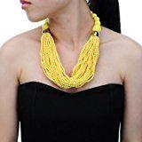 Jerollin - Parure composta da collana girocollo da donna con perla, fantasia, e orecchini con perla in resina, multifilo