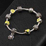 ATE® Bracciale Charms Giallo Smalto fiore Beads Regalo #B159