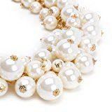 Jerollin Collana da donna Lunga Multi Fili con Pendente Perle grande Luminoso Matrimonio Festa Natale