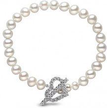Kimura Pearls - Perle bianche semi rotonde coltivate, d'acqua dolce, 6,0 - 6,5 mm, AA, bracciale con chiusura a forma di cuore, 19,05 cm