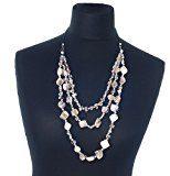 Collana con pepite di conchiglie bianche e perline argentate in stile antico, filo di cotone, lunghezza 80 cm