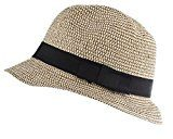 Lux Accessories marroncino e nero tela Straw Fedora cappello