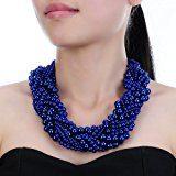 Jerollin collana donna fantasia di girocollo e orecchini di perla grande e piccolo in multi-colore