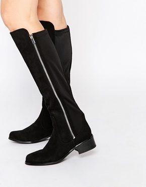 River Island - Stivali neri piatti alle ginocchia elasticizzati