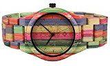 BEWELL Orologio da uomo analogico in legno zebrano, al quarzo, con calendario (Verde)