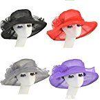 TININNA Donne Large Wide Brim Fiore Organza Cappello Cappelli di Spiaggia Chiesa Festa di matrimonio Cappello